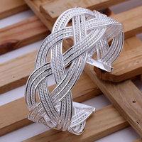 Free shipping Wholesale 925 silver bangle bracelet, 925 silver fashion jewelry, Big Weaved Web Bangle B151