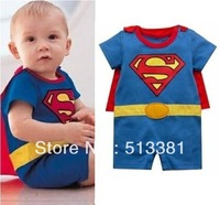 Free Shipping 1 set Superman&Batman&Super Girl Baby Romper/Baby Dress Smock/Baby Cloak/Infant Costume