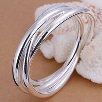 Free shipping Wholesale 925 silver bangle bracelet, 925 silver fashion jewelry, Triple Ring Bangle B047