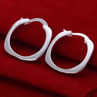 E123 silver earrings 925 sterling silver fashion jewelry earrings beautiful earrings high quality Flat Square Round Earrings