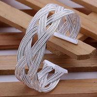 Free shipping Wholesale 925 silver bangle bracelet, 925 silver fashion jewelry, Big Weaved Bangle B033