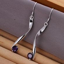 925 silver earrings 925 sterling silver fashion jewelry earrings beautiful earrings high quality Twisted Purple Stone Earrings