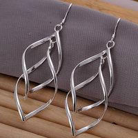 E168 silver earrings 925 sterling silver fashion jewelry earrings beautiful earrings high quality Double Plantain Leaf Earrings