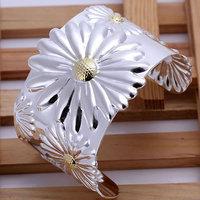 Free shipping Wholesale 925 silver bangle bracelet, 925 silver fashion jewelry, Big Chrysanthemum Bangle B003