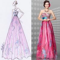 2013 New Fashion Floral Printed Embroidery Strapless Empire Line Long Prom Dress
