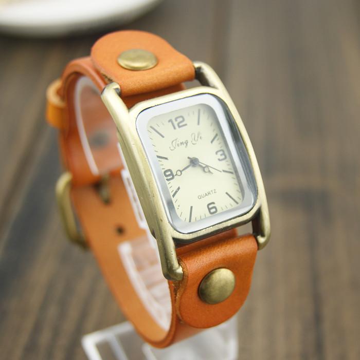 Genuine leather fashion vintage table scale women's digital watch fashion fashion table mens watch(China (Mainland))