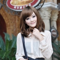 Free Shipping 2013 pear oblique bangs fluffy wig girls bobo short straight hair long kinkiness repair
