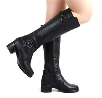 Free shipping,2013 autumn and winter ,plus velvet, fashion genuine leather tall  high-leg  buckle  motorcycle  martin boots
