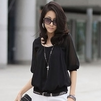 2013 new Korean ladies lace chiffon shirt short-sleeved summer shirt
