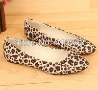 Free shipping Fashion Leopard Pattern Women's Shoe Low-heeled shoes Flats Shoes Low Cutter Flattie Size: EUR35-41
