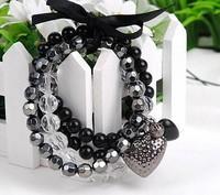 Min order $10 Free shipping Hot Sale Bowknot Tie Black Love Heart Bracelet Multilayer Beads Bracelet
