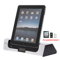 iPEGA USB Audio HiFi Speaker Amplifier + Charger Dock for iPad iPhone iPod with Alarm Clock Free Shipping wholesale