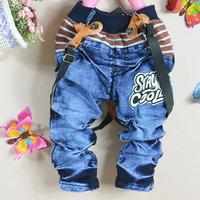 4 PCS/LOT, boys spring and autumn denim suspenders trousers,Kid suspenders pants,Kid jean