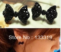 Western Fashion Simple Black Butterfly Bow Earrings Wholesale  Min.order is $5 (mix order) free shipping