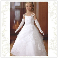 New Arrival 2012 !Appliques Lace Flower Ankle Length Flower Girl Dresses Free Shipping Custom Made
