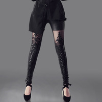 New 2013 Summer Spring Ladies Faux leather patchwork embroidery Sexy lace cutout legging punk motorcycle the trend of female