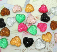 Free Shipping! 100pcs Colorful Resin Bling Heart Cabochons Flatback 14mm
