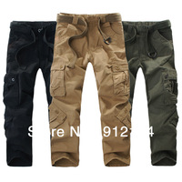 2014 new mens outdoor military uniform washed pants,Large size loose pants,military cargo pants for men,including belt 29-40