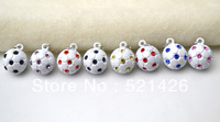 Free Shipping Zinc Alloy Metal Enamel lovely football/soccer Charms pendant accessories 12pcs a lot