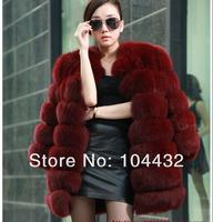 Free shipping 100% nature fox fur lady`s fox fur long coat  new arrived wholesale price top fox fur size ; S M L XL XXL