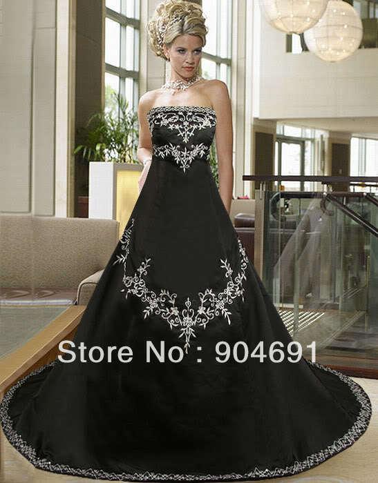 Black Wedding Dress Color : Wedding dress gothic strapless white black organza taffeta bridal