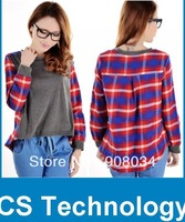 [S799] Fashion Womens Plaid Checks Print Crew Neck Long Sleeve Casual Loose Ladies Personalized Blouse T-Shirt Free Shipping