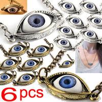 6pcs Lots Wholesale HOT Sale Evil Blue Eyes Black Pupil Eyeball Necklace Pendant