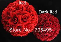 FREE SHIPPING 11'' 28cm Artificial Velvet  Kissing Rose Flower Ball Plastic Frame Wedding Centerpiece