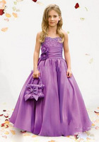 New Arrival 2012 !Sweetheart Flower Waist Ankle Length Flower Girl Dresses Free Shipping Custom Made