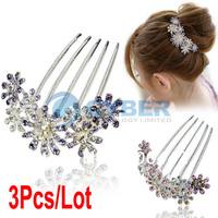 Cheap 3Pcs/Lot Fashion Women's Girls Elegant Multiple Flower Pattern Rhinestone Tuck Comb Hair Pin Hair Clip 2Colors 7713