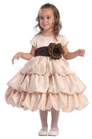 New Arrival 2012 !! Princess Empire Mid Calf Bubble Flowers Flower Girl Dresses Free Shipping Custom Made