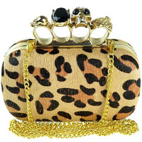 Evening bag day clutch fashion chain skull bag banquet bag horsehair leopard print clutch small bag