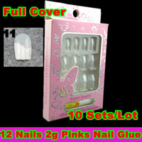 [30S-011]2013 New Arrival( 12  False Nail Art Tips+2g Pink Nail Glue) /Set  Full Cover +Free Shipping For HongKong Post Air Mail