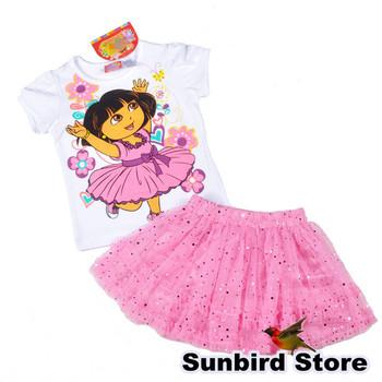 WYD11, 4sets/lot, Dora, children clothing sets for Summer, short sleve T shirt  + tutu mesh skirt for 2-5Y.