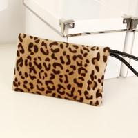 2013 fashion mink hair plush bag fashion leopard print coin purse female bags small wallet