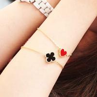 S050 fashion accessories vintage heart four leaf clover love bracelet