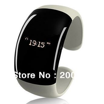 Free shipping Stylish Bluetooth V2.1 Bracelet watch w/ Vibration Function + Digital Time + Cell phone anti-theft  - White+Black