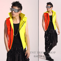 Tnt fashion men's clothing personalized neon color block motorcycle vest costumes costume