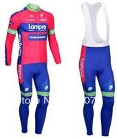 2013 NEW!!! Lampre team Winter long sleeve cycling jerseys+bib pants bike bicycle thermal fleeced wear set+Plush fabric!