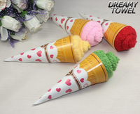 Free shipping Wholesale Birthday wedding supplies ice cream ice cream cone novelty cake towel gift 20*20cm