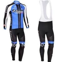 Free shipping! 2013 Giant  Winter long sleeve cycling jerseys+bib pants bike bicycle thermal fleeced wear set+gel pad!