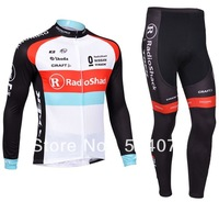 2013 NEW!!! Radioshack team Winter long sleeve cycling jerseys+pants bike bicycle thermal fleeced wear set+Plush fabric!