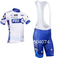 2013 NEW!!! FDJ bib short sleeve cycling jerseys wear clothes bicycle/bike/riding jerseys+bib pants shorts