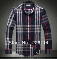 Free shipping New Arriver Men Clothes Fashion 2013 Plaid Mens Shirts men's slim fit Shirt 033