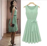 Vintage Womens Pleated Mint Green Sleeveless Belted Chiffon Dress s M L