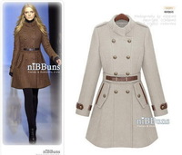2014 New Designed Women's Popular Woolen Trench Coat Lady Fashion Celebrity Double-breasted Winter Uniform Style Overcoat Jacket