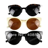 2013 Unisex Fashion Vintage Super Retro Designer Round Cat Eye Semi-Rimless Sunglasses Glasses 5635