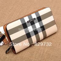 Free shipping 2014 new male wallet long design single zipper wallet fashion check male clutch male