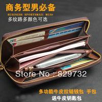 Free shipping Kangaroo male wallet long design male mobile phone zipper bag long design wallet purse cowhide male clutch