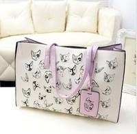 Hot sale fashion lady embroidery print satchel bag Women shoulder handbag female cat pattern tote bag for travel #0194
